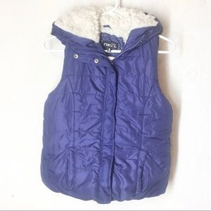 Rue 21 Puff Vest Blue With Hood Faux Fur Interior